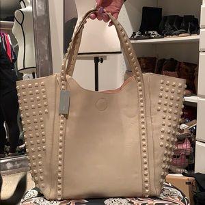 Handbags - Gorgeous Studded Cream Shoulder Purse